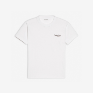 BALENCIAGA POLITICAL CAMPAIGN SMALL FIT T-SHIRT IN WHITE VINTAGE JERSEY - BB38