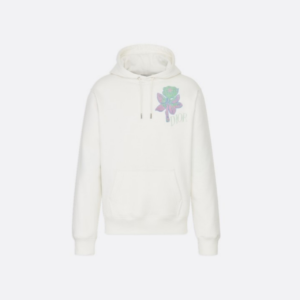 WHITE DIOR AND ALEX FOXTON ROSE EMBROIDERED COTTON HOODIE - CD25