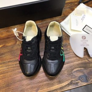 GUCCI RHYTON LEATHER SNEAKER WITH GUCCI LOGO