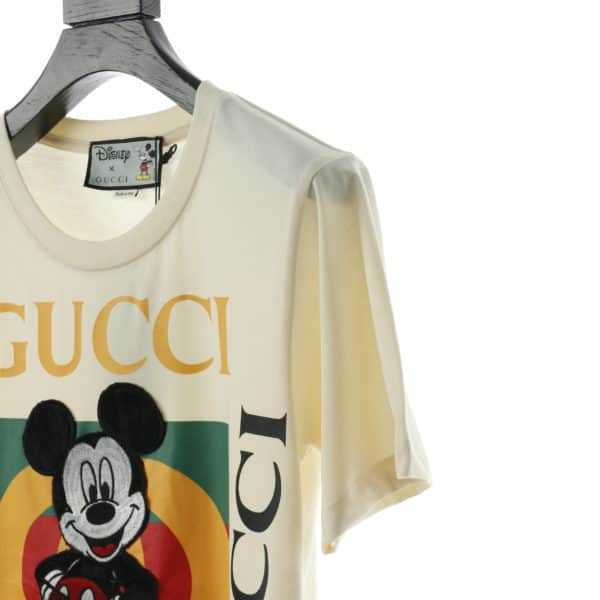 GUCCI X MICKEY EMBROIDERED BEAD WHITE T SHIRT
