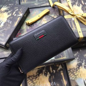 GUCCI LEATHER ZIP AROUND WALLET WITH WEB