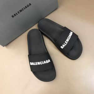 BALENCIAGA RUBBER LOGO POOL SLIDE SANDALS - BBS5