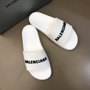 BALENCIAGA RUBBER LOGO POOL SLIDE SANDALS - BBS7