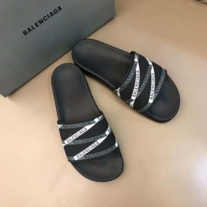 BALENCIAGA RUBBER LOGO POOL SLIDE SANDALS - BBS9