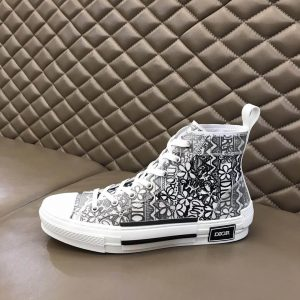 DIOR B23 HIGH-TOP SNEAKER WHITE CANVAS WITH DIOR AND SHAWN EMBROIDERY - CD73