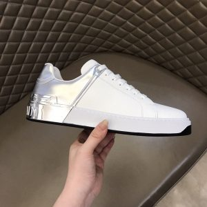 BALMAIN LEATHER B-COURT BICOLOR SNEAKERS IN WHITE - BBR60