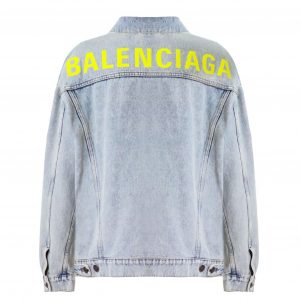 BALENCIAGA 80'S LOGO JACKET BLEACH DENIM - BB5