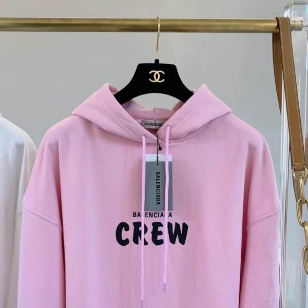 BALENCIAGA CREW HOODIE IN LIGHT PINK AND BLACK PRINTED CURLY FLEECE - BB24