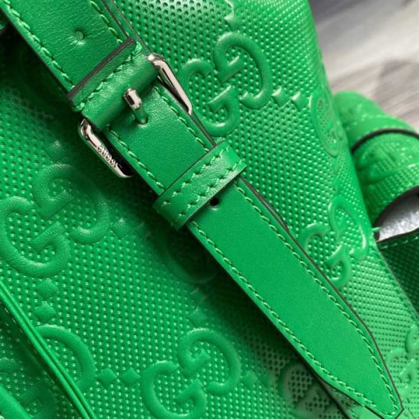 GG EMBOSSED BACKPACK IN GREEN LEATHER - GBC10