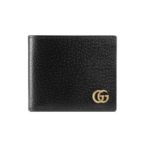 Gucci Men GG Marmont Leather Bi Fold Wallet Black Metal Free Tanned Leather Double G - WGR005
