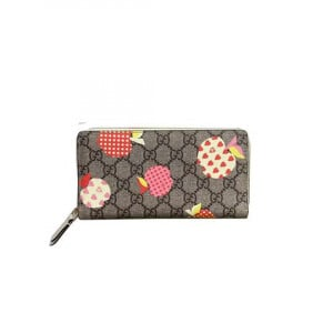 Gucci Les Pommes zip around wallet in beige and ebony GG Supreme - WGR007
