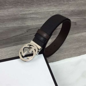 GUCCI SIGNATURE BELT WITH SILVER G BUCKLE - B49