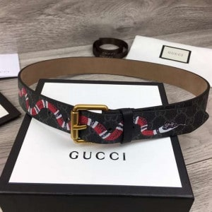 GUCCI LEATHER BELT WITH KINGSNAKE - B41