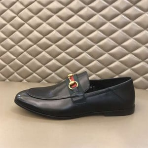GUCCI 10MM LEATHER FOLDABLED LOAFERS W/ WEB - LDG017
